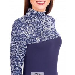 Mėlyna suknelė gėlėtu viršumi SR01MM01
