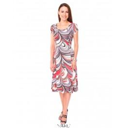 Rausva smarkiai platėjanti suknelė VS6MMA09