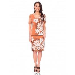 Ruda suknelė su atkirpimu VSAMRD01