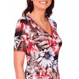 Gėlėta suknelė raudonu kaklu VSSMRD02