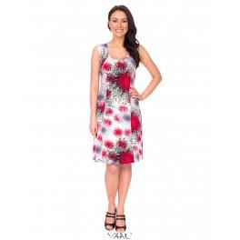 Raudonų atspalvių suknelė su petnešomis VSA1MR01