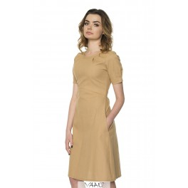 Kreminė medvilnės suknelė VSV8MKR01