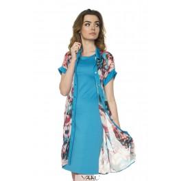 Mėlynai marga šifono suknelė - tunika PS1MMA03