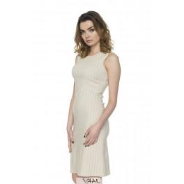 Kreminė suknelė linijomis be rankovių VSSMKR03