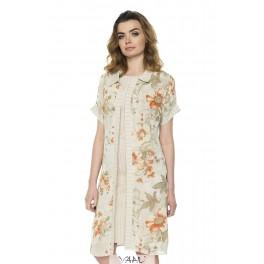 Gėlėta kreminės spalvos šifono suknelė - tunika PS1MMA05