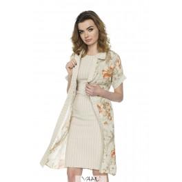 Kreminės spalvos suknelės ir gėlėto šifono komplektas PSKO1MKR01