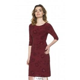Proginė bordo spalvos suknelė 3/4 rankovėmis PSSMR03