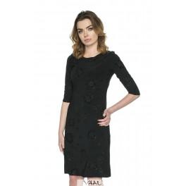 Juoda blizgi suknelė 3/4 rankovėmis PSSMJ05