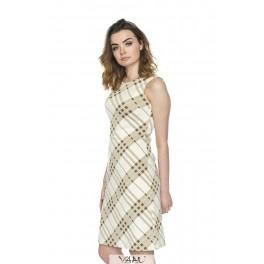Raštuota kreminė suknelė be rankovių VSSMKR05