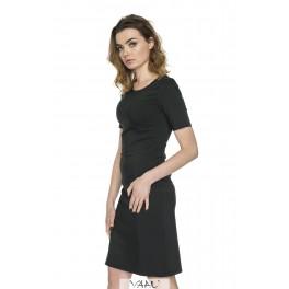 Juoda suknelė trumpomis rankovėmis VSSMJ02