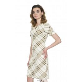 Kreminė rudai raštuota suknelė VSSMKR06