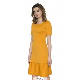 Oranžinės spalvos suknelė plačia apačia PSV11MO01