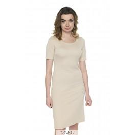Kreminė spausto rašto suknelė PSSMKR02