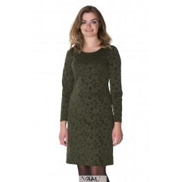 Žalia proginė suknelė gėlėtu raštu PSSMŽ02