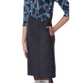 Mėlyna tiesaus kirpimo suknelė SV3MM02