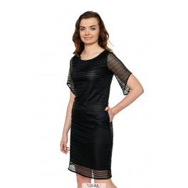 Juoda šventinė suknelė linijomis PSSMJ07