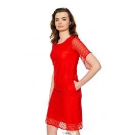 Raudona suknelė linijomis PSSMR05