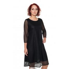 Juoda proginė suknelė linijomis PSR04MJ02