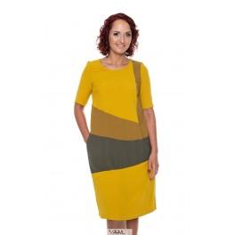 Geltona suknelė dryžiais siaurėjanti į apačią VSRDIMG01