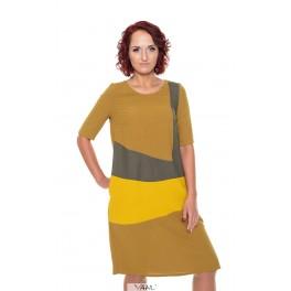 Garstyčių spalvos suknelė su dryžiais VSRDIMG02