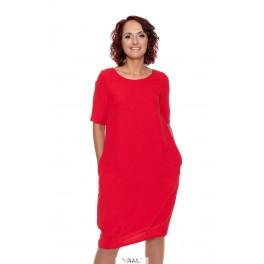 Raudona puošni suknelė siaurėjančia apačia PSKUR01
