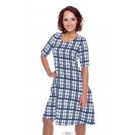 Mėlynai languota varpelio silueto suknelė VSR04MM01