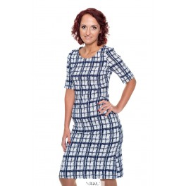 Mėlynai languota klasikinė suknelė VSSMM01