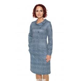 Mėlyna suknelė sagutėmis dekoruota krūtinės sritimi