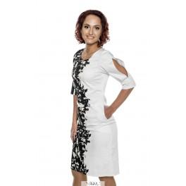 Balta šventinė suknelė skeltomis rankovėmis  PSSMB03