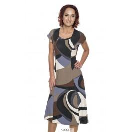 Rudų raštų smarkiai platėjanti suknelė  VS6MRD02
