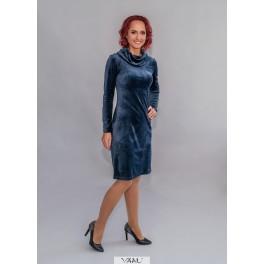 Mėlyna aksomo suknelė aukštu kaklu SA2MM01