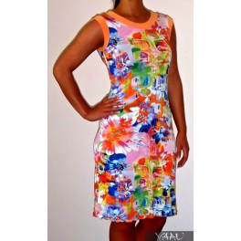 Ryškiaspalvė gėlėta  trikotažinė suknelė, VS8MO01