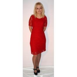 Raudona suknelė su gipiūru, VSGPMR01