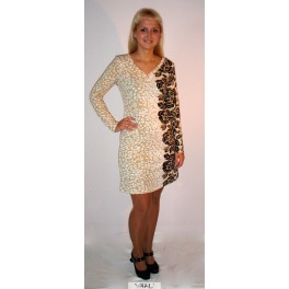Kreminė suknelė su gėlėtu šonu SSMKR01