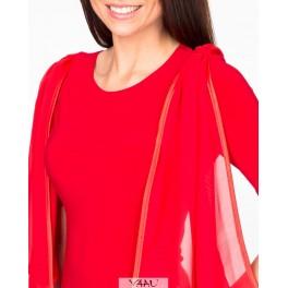 Raudona su skara proginė suknelė, PSP1MR01