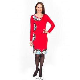 Raudona suknelė su gėlių aplikacijomis, SAMR01