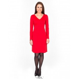 Raudona suknelė trikamiu kaklu SSMR01