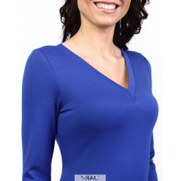 Mėlyna suknelė trikampiu kaklu SSMM03