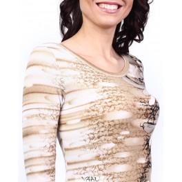Ruda suknelė raštuotu šonu SSMKR02