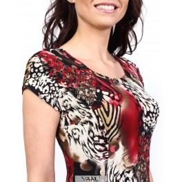 Smarkiai platėjanti raudonai marga suknelė VS06MR01