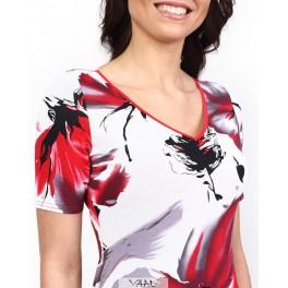 Teisi raudona suknelė trikampiu kaklu VSSMR01