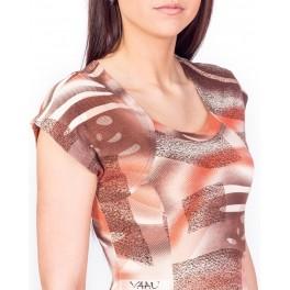Rusvų atspalvių smarkiai platėjanti suknelė VS06MMA08
