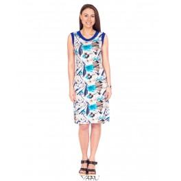 Gėlėta suknelė mėlynais pakraštėliais VS8MMA10