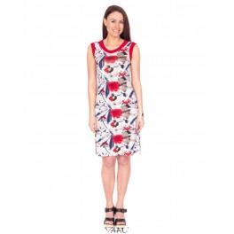 gėlėta suknelė raudonais paraštėliais VS8MMA09