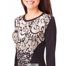 Raštuota suknelė su kišenėmis SP02MMA02